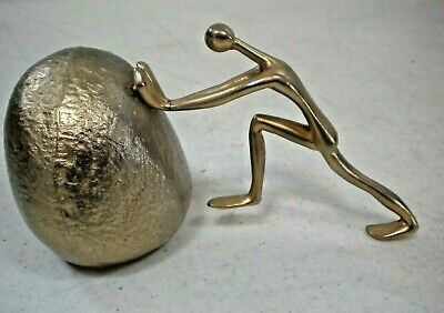 Vintage Mid Century Modern TED ARNOLD GOLD MAN PUSHING ROCK Bookend Paperweight