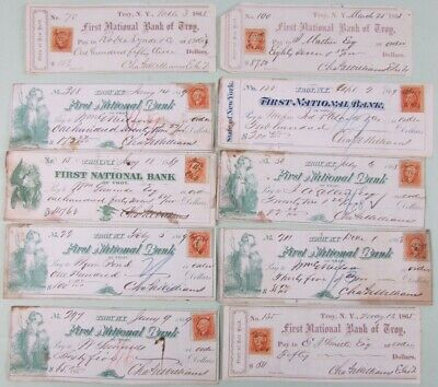 Lot 10 Troy New York First National Bank Checks  1865/69 With Revenue Stamps