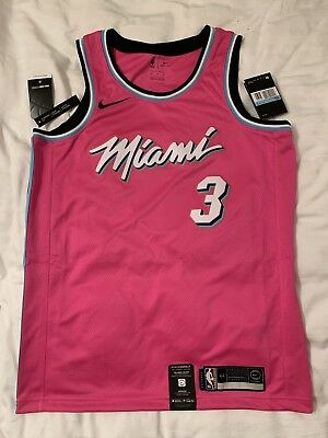 f04e3ceed1c Miami Heat Nike NBA Earned Edition Sunset Vice Swingman Jersey Wade  3 M 44  Pink