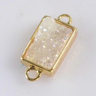 12x8mm Natural Agate Druzy Titanium AB Bezel Connector Gold Plated H130683
