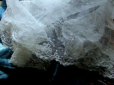 Antique Airy Sheerest White Cotton Tambour Dotted Lace Square