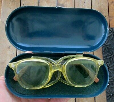 Vintage Fendall Safety Glasses Motorcycle Goggles In Near Mint Metal Case