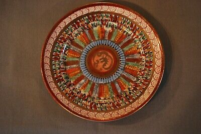 Antique 19th c. Japanese Colorful Hand-painted Porcelain Plate Imari w/ Dragon