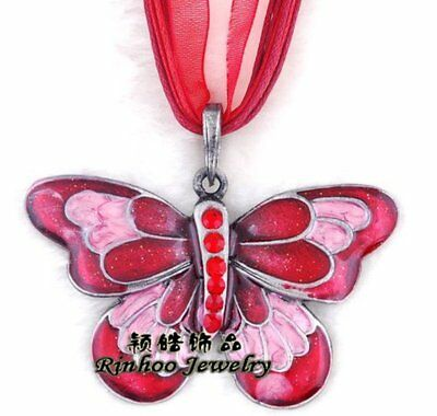 1Pc Crystal Red Insect Butterfly Pendant Necklace Chain Women Jewelry Gift Hot