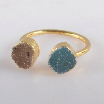 Size 8.5 Natural & Blue Agate Druzy Geode Ring Gold Plated B077969