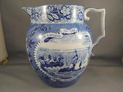 Old Historical Staffordshire Blue Transferware Pitcher Landing of the Fathers