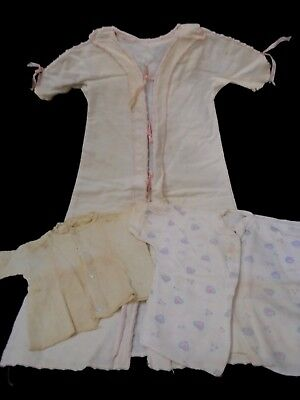 Antique 3 child cotton flannel Nightgown shirt & knit shirt will fit large doll