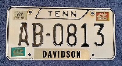 1967 1969  1970 Tennessee Tn License Plate Davidson County #ab-0813