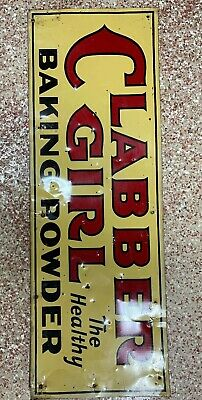 Clabber Girl Baking Powder Embossed Metal Tin Sign Vintage Authentic 34x11.5