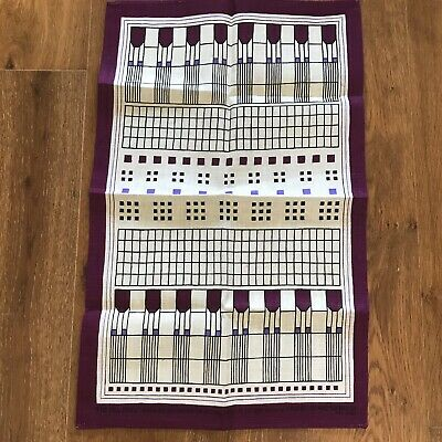 Vintage Linen Tea Dish Towel Hill House Scotland Geometric Arts & Crafts Design