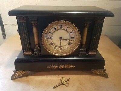 Victorian Mantel Clock With Columns And Lion Heads ~ Runs And Chimes