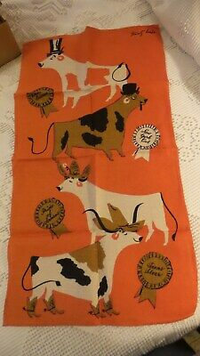 Vintage Linen Kitchen Towel TAMMIS KEEFE COWS ON ORANGE