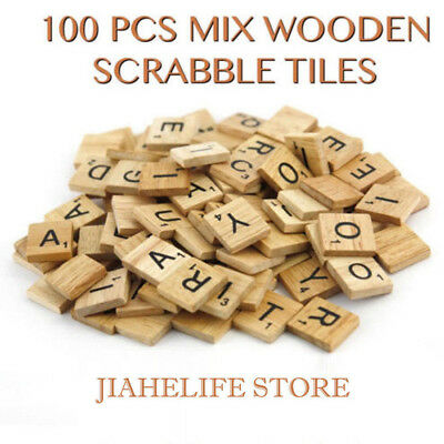100pcs Kids Educational Letters Wood Craft Toys Alphabet Printed Wooden Sheets