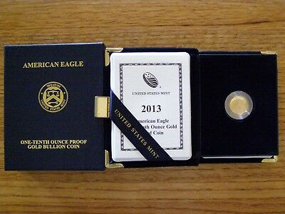 2013-W $5 1/10 oz GOLD AMERICAN EAGLE PROOF (GA4)