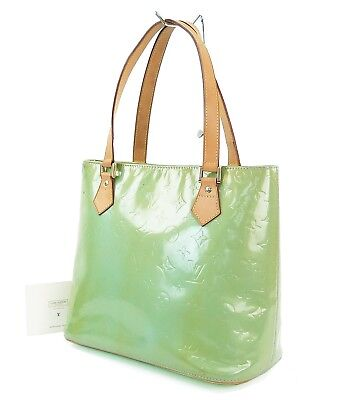 Authentic LOUIS VUITTON Houston Baby Blue (Green) Vernis Tote Bag Purse #30430