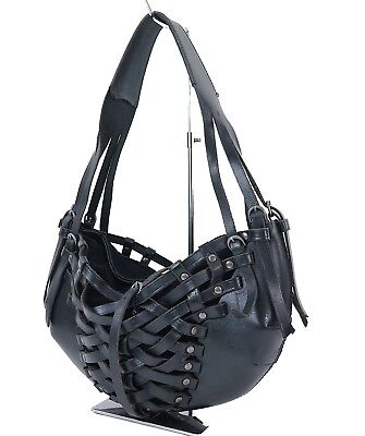 Authentic BALLY Black Leather Hand Tote Bag Purse #30030