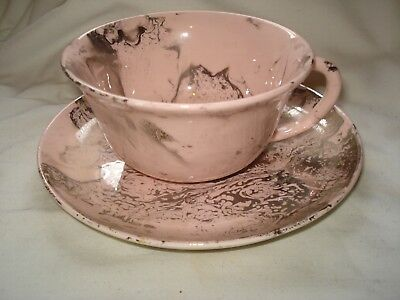Unused Sascha Brastoff Pottery Surf Ballet Pink Cup and Saucer