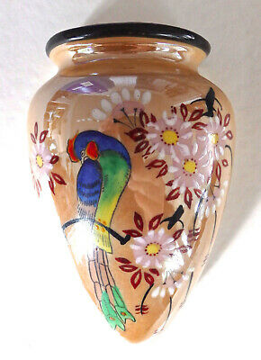 "6 1/4"" Lustreware Wall Pocket Japan Parrot Bird Paradise Flowers Ceramic No Res"