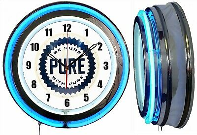 "PURE Gas Oil Be Sure with Pure 19"" Double Neon Clock Blue Neon Man Cave Garage"