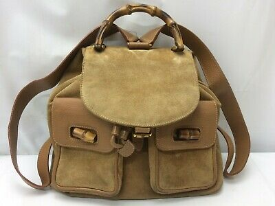 a4057e40775e Auth Gucci Bamboo Suede Backpack Shoulder Bag 9B070030w