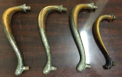 VINTAGE HEAVY BRASS DOOR PULL HANDLES Lot Of (4), Old, Curved Shape