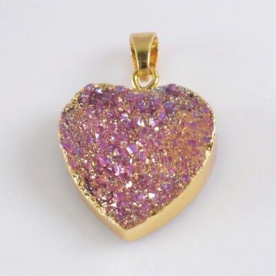 Heart Hot Pink Agate Titanium Druzy Pendant Bead Gold Plated T070045