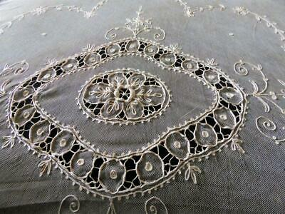 "Antique French Tambour Net Lace Pillow Layover? Drapery Panel Curtain  105"" L"
