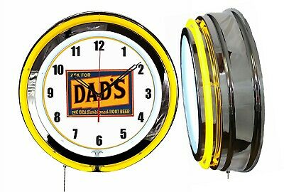 """Ask for Dad's Root Beer 19"""" Double Neon Clock Yellow Neon Chrome Man Cave Garage"""