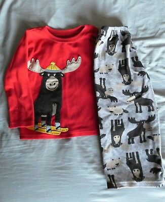 3T CARTER'S MOOSE PAJAMAS 2 piece Fleece Set Outfit
