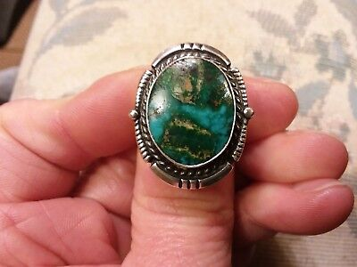 Antique Natural Blue Green Carico Lake Turquoise Sterling Silver Ring Size 7
