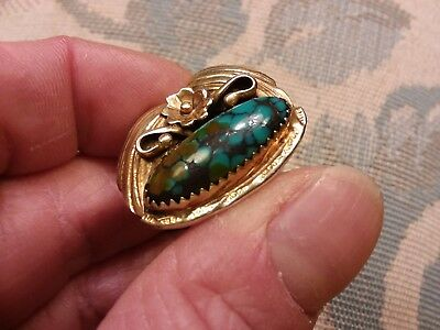 Navajo Vtg Gem Grade Indian Mountain Turquoise Gold Gilt Sterling Silver Ring 7