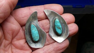 Vtg Navajo Waterweb High Grade Lone Mountain Turquoise Sterling Silver Earrings
