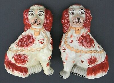 """Vintage Pair Staffordshire Mantel Dogs Spaniels Russett Red & White 8"""" Tall"""