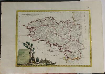 Brittany Bretagne France 1777 Antonio Zatta Unusual Antique Copper Engraved Map