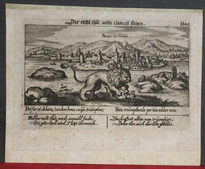 Porec Croatia 1637 Meisner Scarce Antique Original Copper Engraved Cityview
