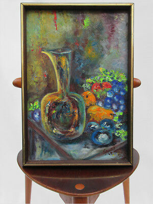 Signed Andil 1969 Mid-Century Post-War Still Life Abstract Oil Eames Era