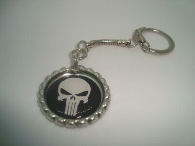 PUNISHER design Bottle Cap key chain Snake style Silver Tone Polyurethane