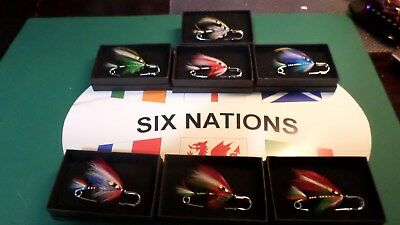 Full Set Of Six Nations Rugby Superior Quality Salmon Fly Kilt Pins / Scarf Pins