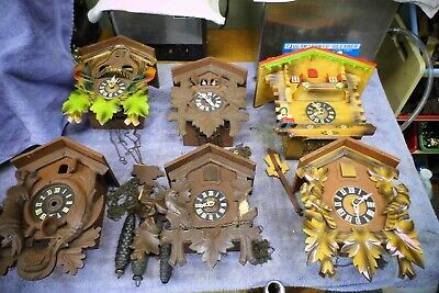 Lot of SIX (6) antique or Vintage Cuckoo Clocks for parts or repair - As-Is