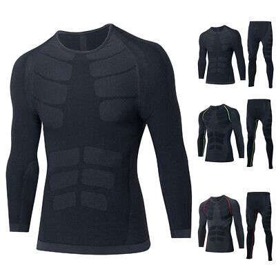 Winter Men Thermal Underwear Gym Quick Dry Compression T-Shirt+Long Pants Sport