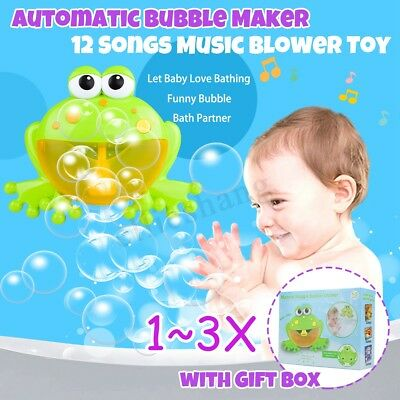 Kid Crab Bubble Tub Frog Automatic Shower Machine Blower Maker Bath Music Toy