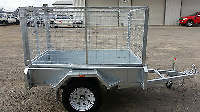 galvanised box trailer, inc 900mm Cage & Spare 6x4, Welded 2.5mm checker plate