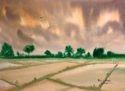Original (15x11 in) Painting by Bill Lupton - Early Morning Sky