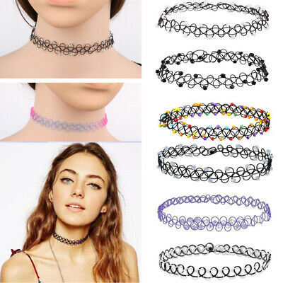 12pcs/set 80s 90s Punk Stretch Tattoo Lace Choker Necklace Retro Gothic Elastic
