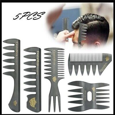 5Pcs /Set Hair Comb for Men Hair Styler Insert Hair Pick Comb Show Wide Tooth