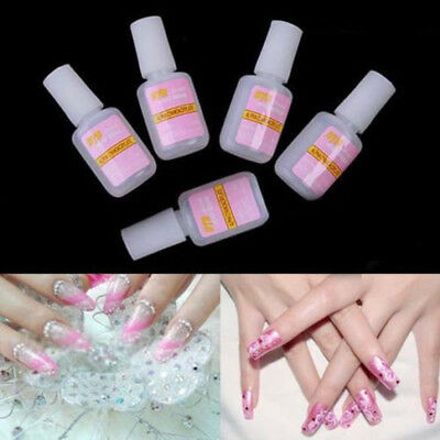 5X 10g False Nail Art Glue Tips Glitter Acrylic Decoration Brush Remove DIY