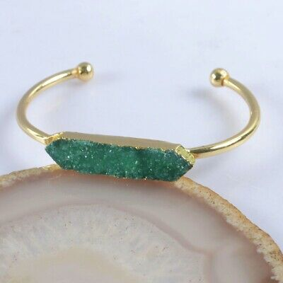Defective Green Agate Druzy Geode Bangle Gold Plated T075413