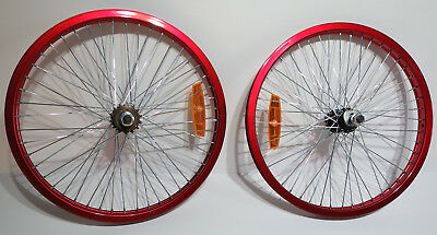 """Red Bmx 20"""" Bike Bicycle Alloy Wheels Rims 48 Spoke 14Mm Axles No Reserve New"""