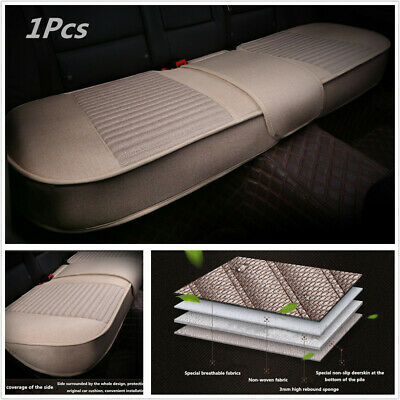 1Pcs Beige Artificial Linen Full Surrounded Car SUV Rear Back Seat Cover Cushion