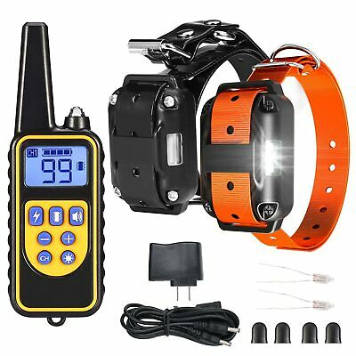 Electric Remote Dog Training Collar Rechargeable Shock Collar For 2 Dogs 875Yard